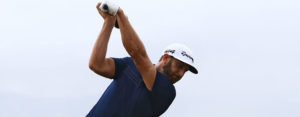 Dustin Johnson takes a swing at Kapalua